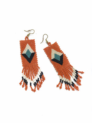 Beaded Geometric Fringe Earrings - Orange + Black