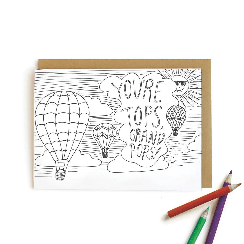 You're Tops, Grandpops! Kids Color-In Card