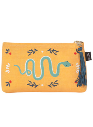 Fierce Snake Small Linen Cosmetic Bag