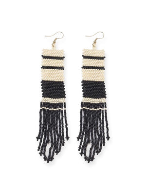 Beaded Stripe Earrings- Black + Ivory