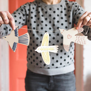 Wooden Bird Banner Embroidery Kit