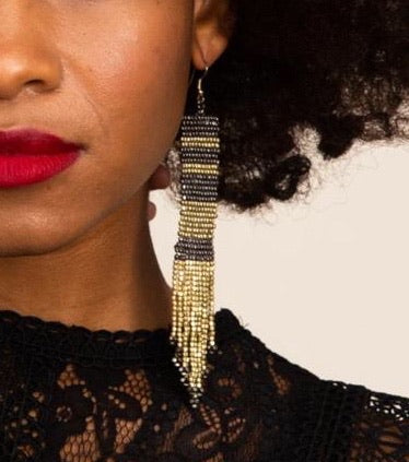 Gold + Gunmetal Beaded Earrings
