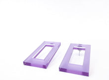 Load image into Gallery viewer, Rectangular lilac acrylic earrings