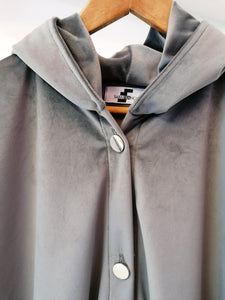 Grey velvet big bomber