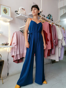 Crepe jumpsuit with V cut
