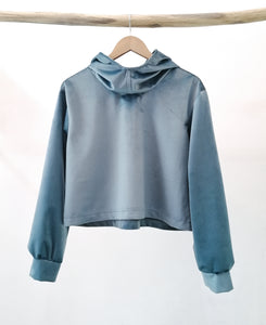 Grey/ blue velvet sweater