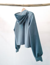 Load image into Gallery viewer, Grey/ blue velvet sweater