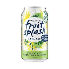 Fruit Splash NO SUGAR Sparkling Water Lemon Lime Cucumber 375ml x 10 pack cans