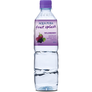 Aqua Pura Fruit Splash WILDBERRY Enhanced Still Water 600ml Bottle