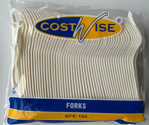 Costwise Plastic Cutlery - FORKS 100's