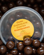 Load image into Gallery viewer, Red Hill Confectionery - Dark Chocolate Coated Raspberries 180g Tub