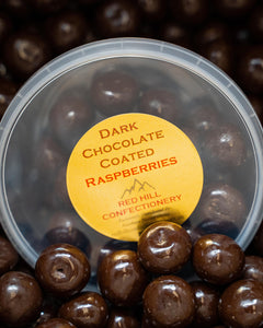 Red Hill Confectionery - Dark Chocolate Coated Raspberries 180g Tub