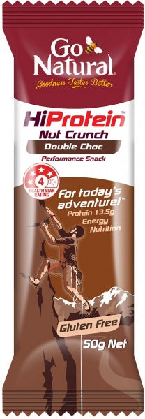 Go Natural HI PROTEIN - NUT CRUNCH DOUBLE CHOC BAR 50g