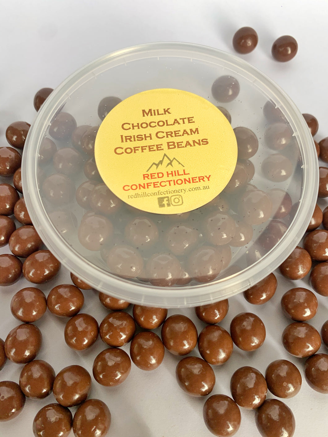 Red Hill Confectionery - Milk Chocolate Irish Cream Coffee Beans 120g Tub