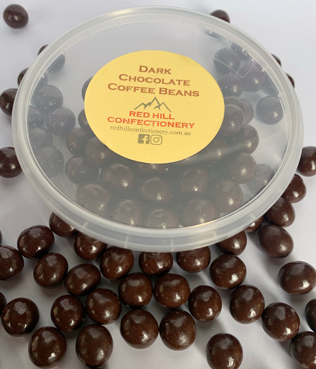 Red Hill Confectionery - Dark Chocolate Coated Coffee Beans 130g Tub