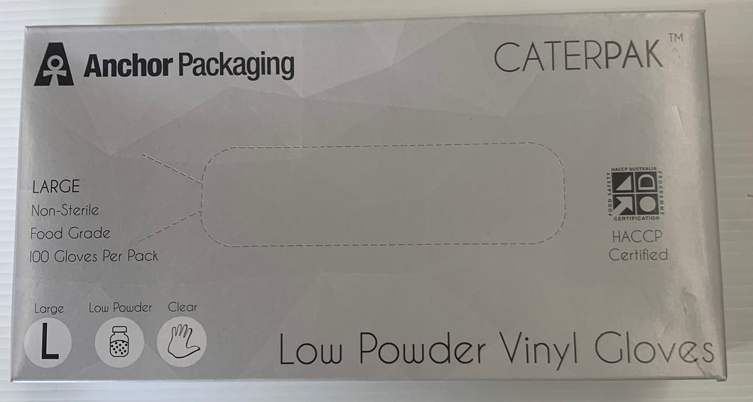 Low Powder CLEAR VINYL GLOVES - Large 100 Gloves Per Pack
