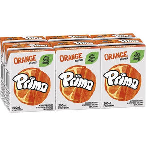 Prima ORANGE 6 x 200ml Fruit Juice Drink Tetra Pack