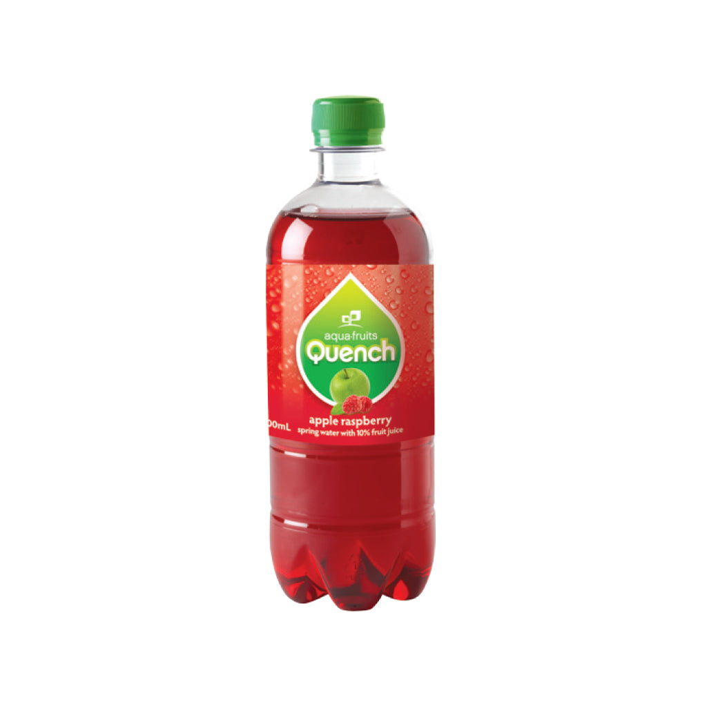 Quench 600ml 10% Fruit Juice with Carbonated Water APPLE RASPBERRY Bottle
