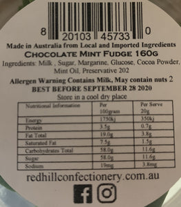 Red Hill Confectionery - Chocolate Mint Fudge 160g Tub