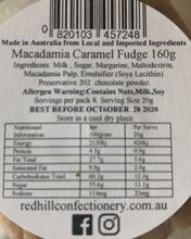 Load image into Gallery viewer, Red Hill Confectionery - Macadamia Caramel Fudge 160g Tub