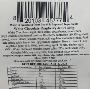Red Hill Confectionery - White Chocolate Coated Raspberries 400g Bag
