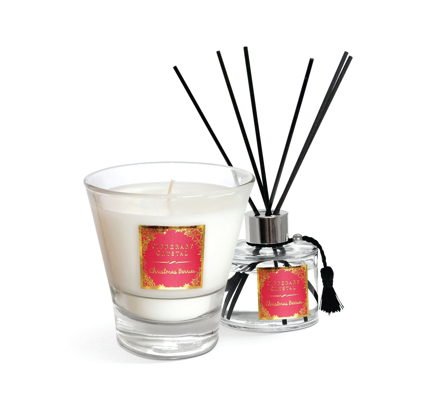 Tipperary Crystal Candle and Diffuser Set Christmas Berries