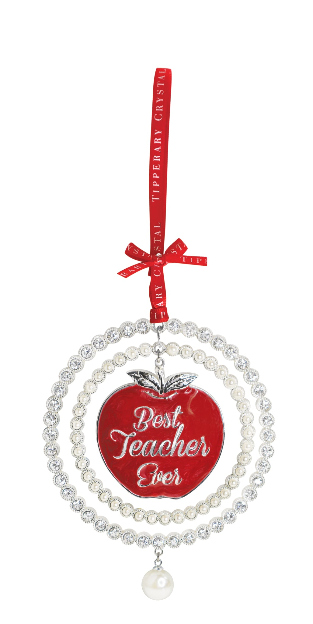 Tipperary Crystal Pearl Best Teacher Ever Decoration