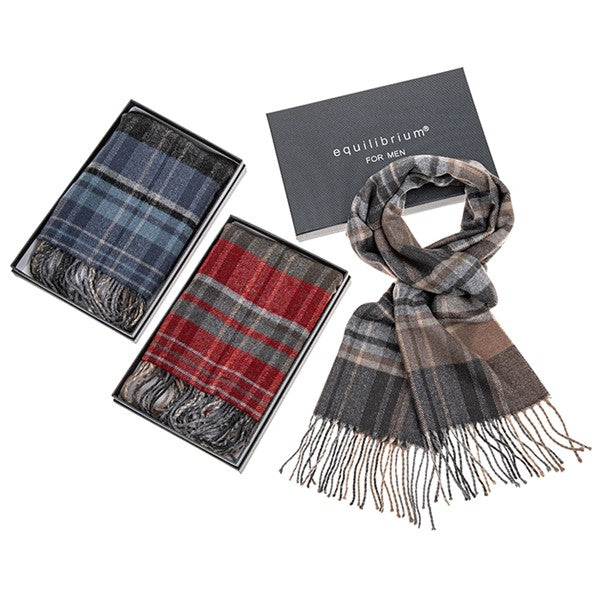 Equilibrium For Men Checked Scarf-Blue