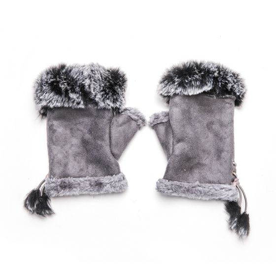 Pure Accessories Fingerless Gloves Grey