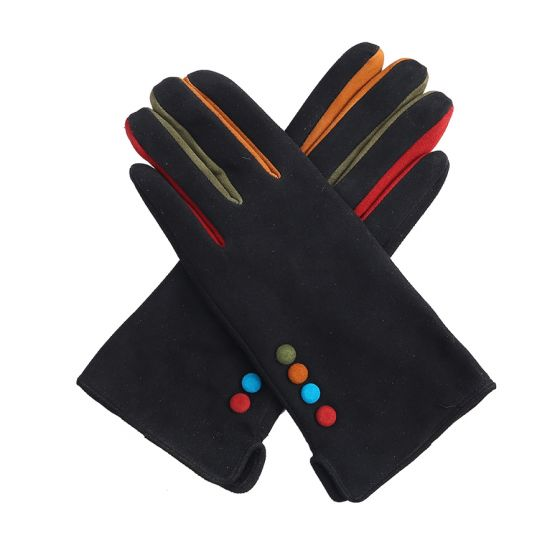 Pure Accessories Gloves-Leather Suede-Black