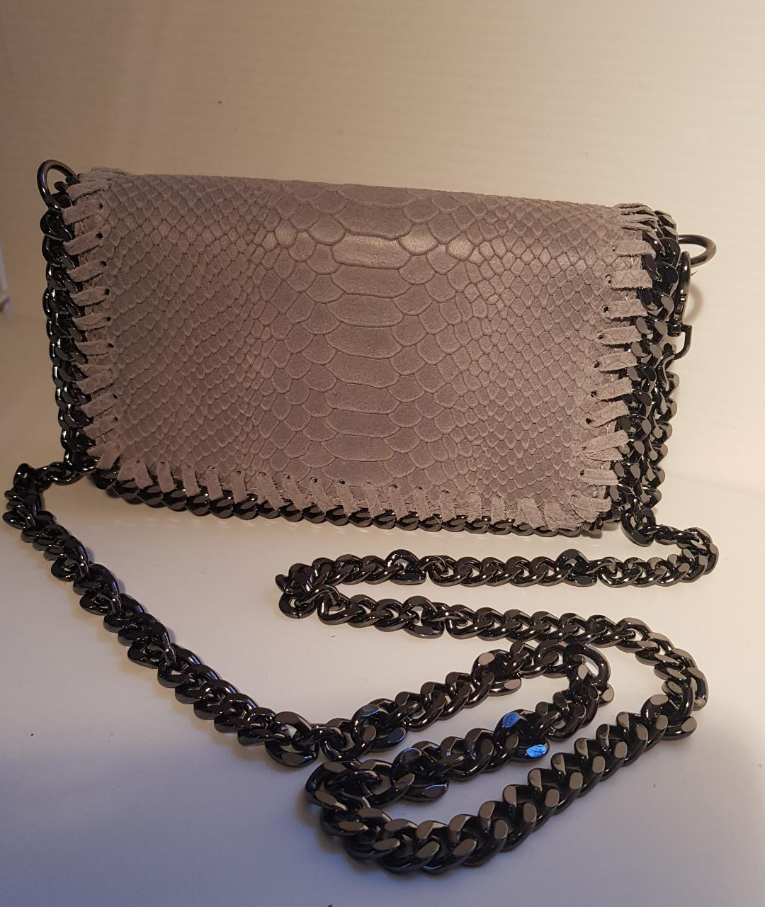 Tempest Croc Leather Grey Bag