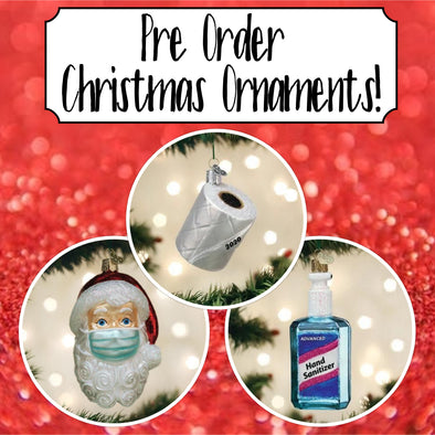 Pre-Order Old World Christmas Santa with Face Mask, Toilet Paper, and Hand Sanitizer Ornaments