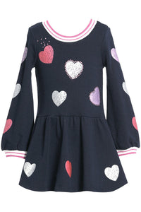 LS SCTR HEARTS SWTSHRT DRESS