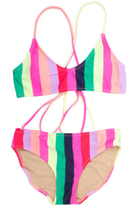 RAINBOW STRIPES STRAPPY BACK BIKINI