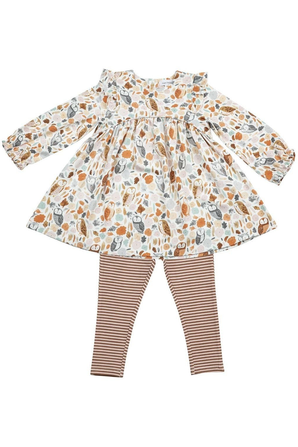 LS AUTUMN OWLS DRESS + LEG SET