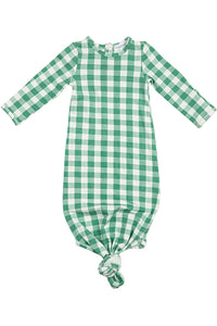 LS GREEN GINGHAM KNOTTED GOWN