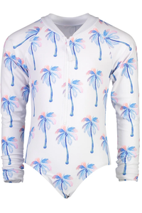 1PC WATERCOLOR PALMS RASHGUARD SUIT