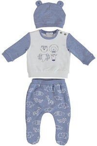 LS ANIMALS LAYETTE SET W/ HAT