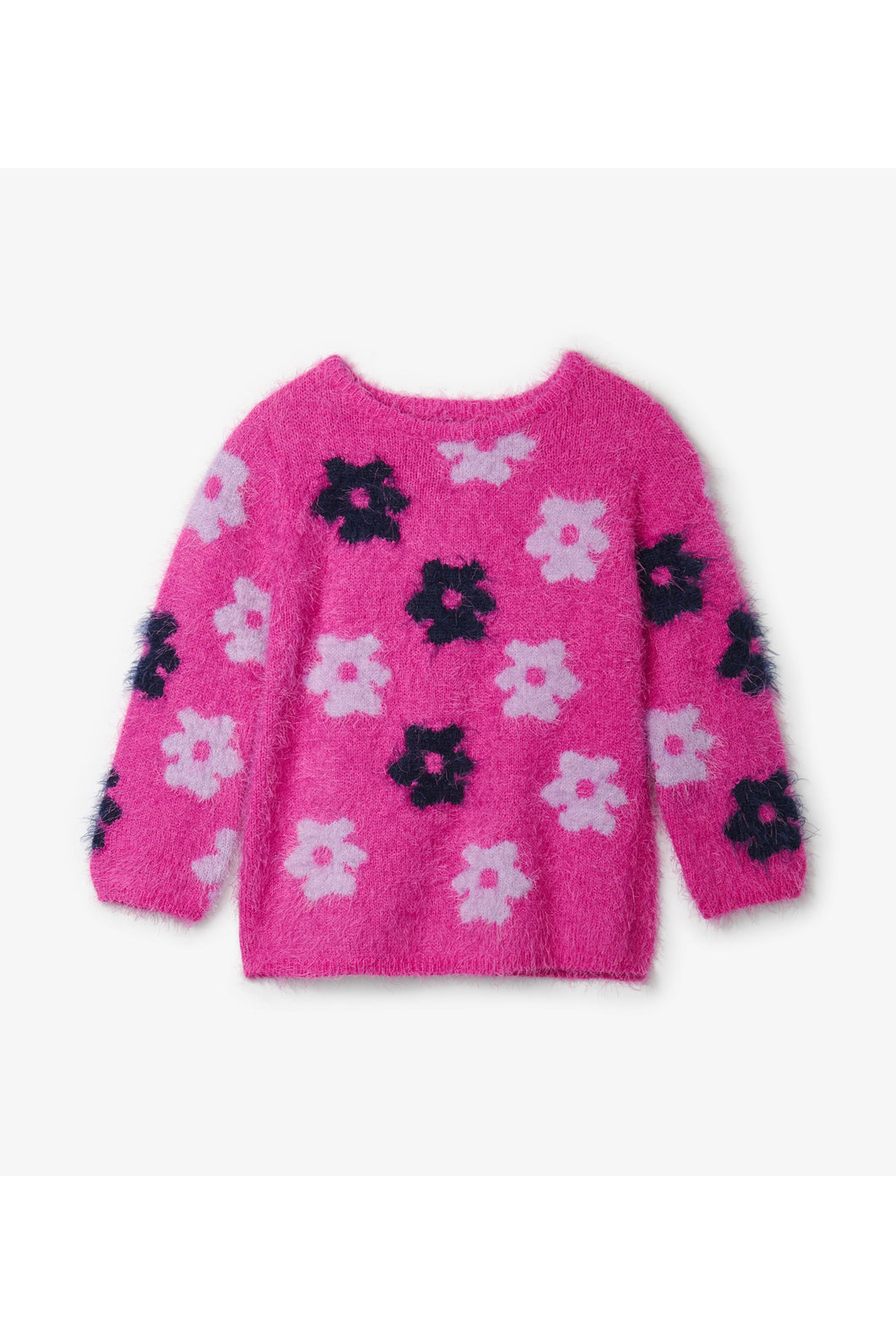 FUZZY RETRO FLOWERS SWEATER