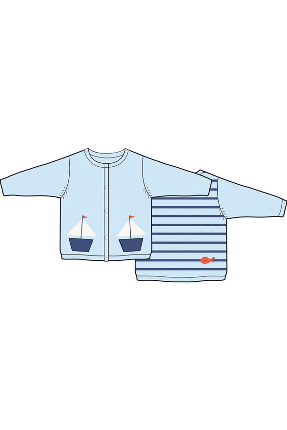 SAILBOATS EMBROIDERED CARDIGAN