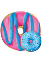 Load image into Gallery viewer, BLUE & PINK DONUT SCENTED PILLOW