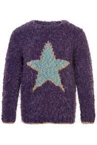 FUZZY EYELASH STAR SWEATER