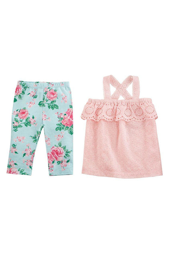RUFFLE EYELET TOP & FLORAL LEGGING SET