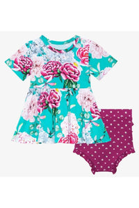 ELOISE FLORAL PEPLUM TOP & BLOOMER SET