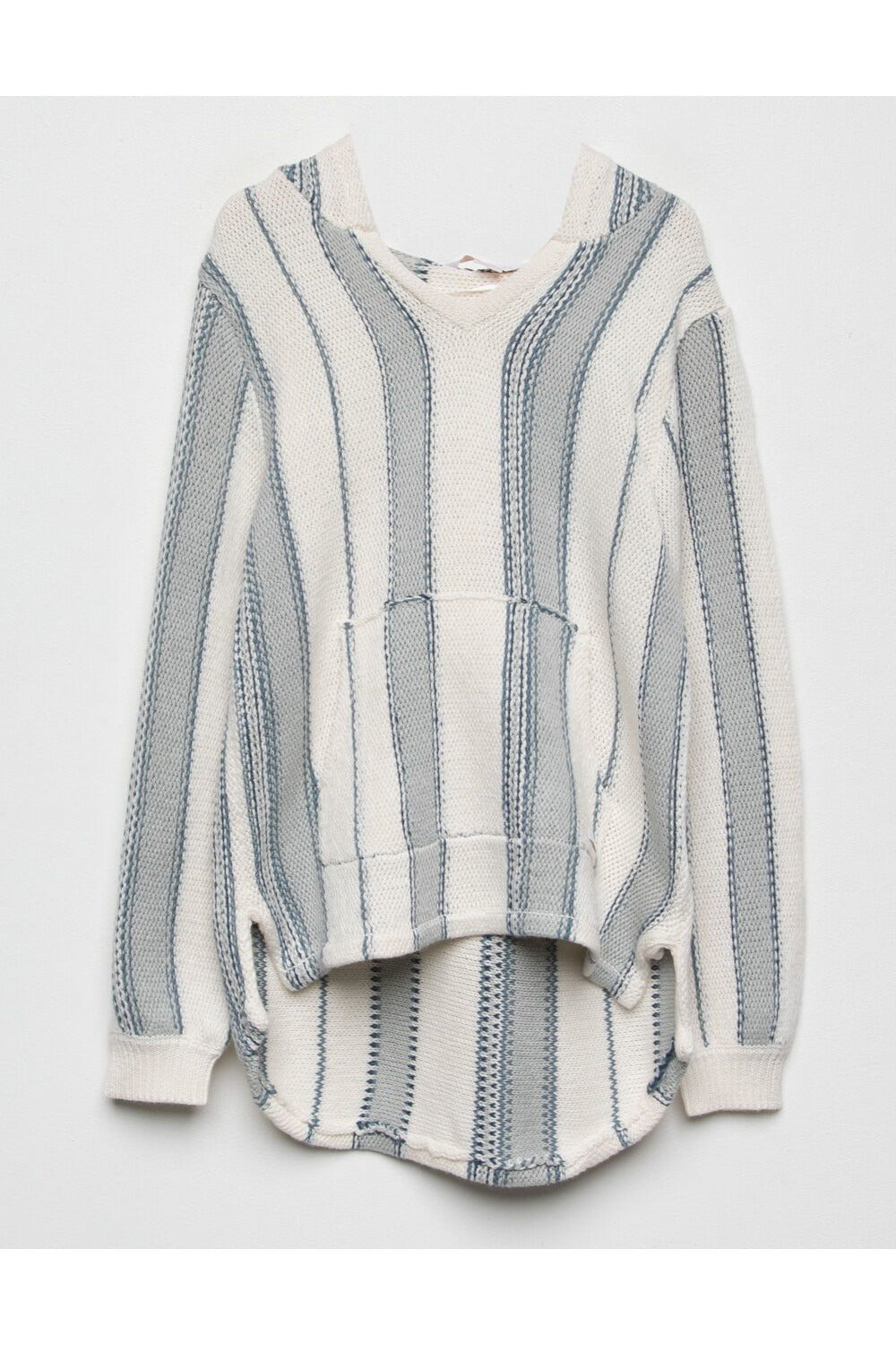 STRIPED KNIT SWEATER HOODIE