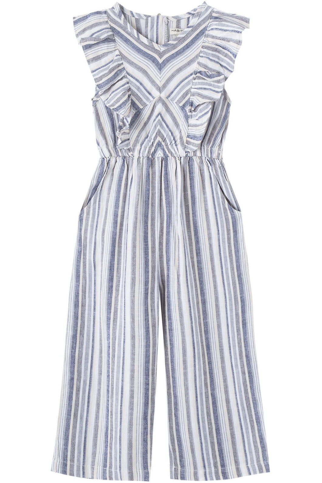 CAP SLEEVE TODDLER PIECED STRIPE RUFFLE JUMPSUIT
