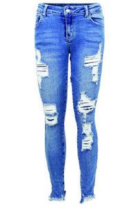 Destructed Ankle Crop Denim