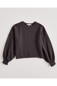 BALLOON SLEEVE CROP SWEATSHIRT