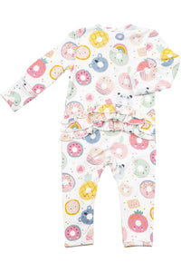DONUT SMILES RUFFLE COVERALL