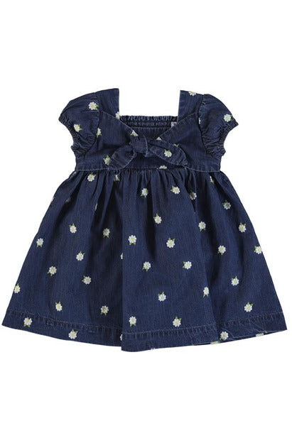 EMBROIDERED DAISY BOW FRONT DRESS